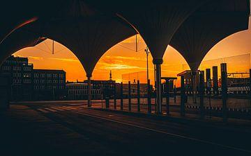 Coucher de soleil Station de bus Leidsche Rijn sur de Utregter Fotografie