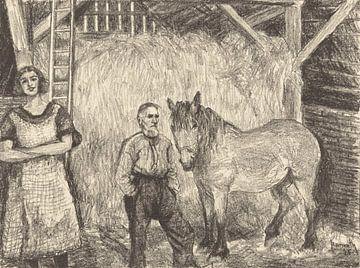 Heuscheune mit Bauer und Pferd, Otto Hanrath, 1925 von Atelier Liesjes
