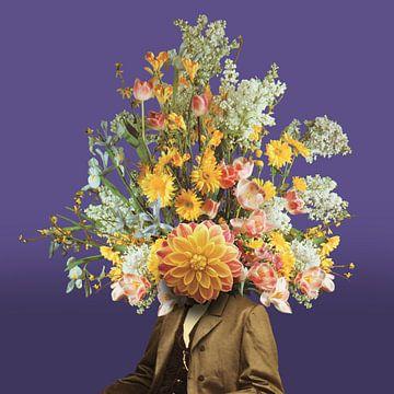 Zelfportret met bloemen 2 sur toon joosen