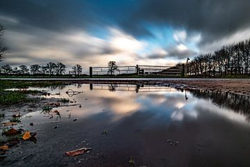 Landschap, spiegeling, wolken sur Frank Slaghuis