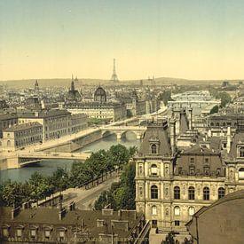 Panorama of the seven bridges, Paris van Vintage Afbeeldingen