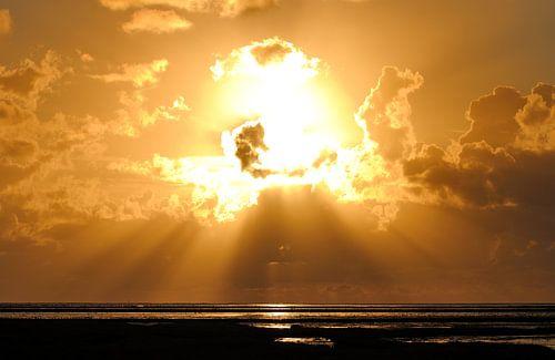Sunset at the Wadden Sea van