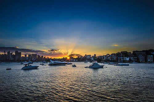 Zonsondergang in Sydney - Skyline van Ricardo Bouman | Fotografie