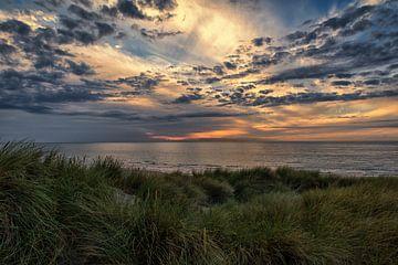 Zonsondergang in de Duinen van Bredene aan Zee van Focco van Eek