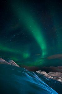Noorderlicht bij de Noordkaap van
