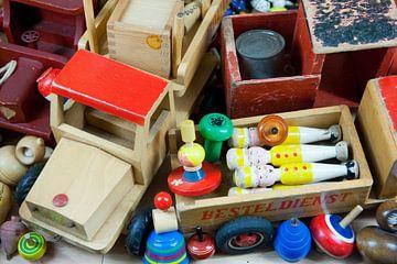 Vintage houten speelgoed van bovenaf van Ivonne Wierink