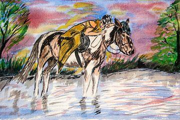 Mädchen auf Pferd-Mädchen auf der Pferd-Fille im Cheval von aldino marsella