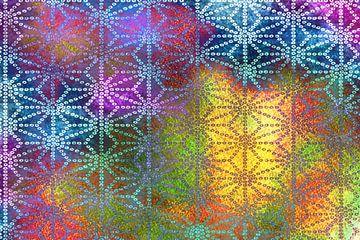 Netwerk. Veelkleurig grafisch patroon van Rietje Bulthuis