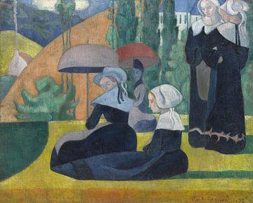 Émile Bernard~Bretonische Frauen mit Regenschirmen