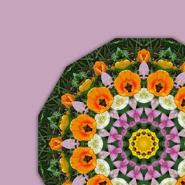 Tulips, Floral mandala-style van Barbara Hilmer-Schroeer