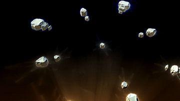 Meteorenzwerm van fractals van Frank Heinz