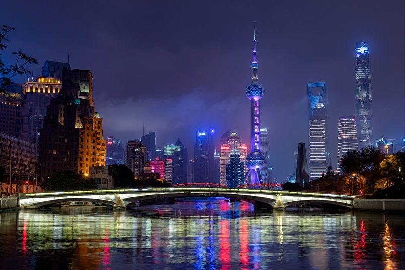 Shanghai skyline (china) van Michael Bollen