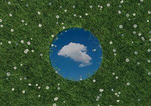 Ronde spiegel weerspiegelt witte enkele wolk en ligt op groene weide omringd door madeliefjes
