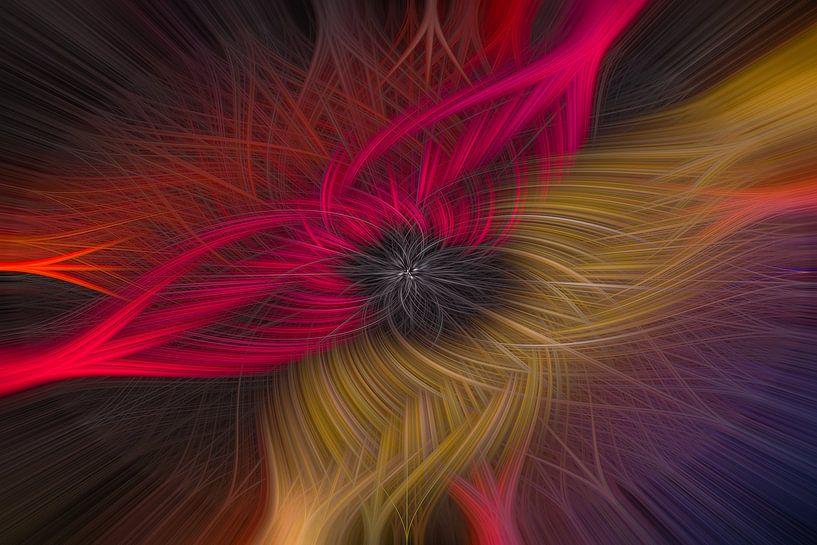 Abstracte twirl in rood en geel van Leo Luijten