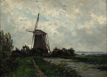 Carlos de Haes-Niederländische Landschaft, Windmühlen, Die Niederlande, Antilandschaft