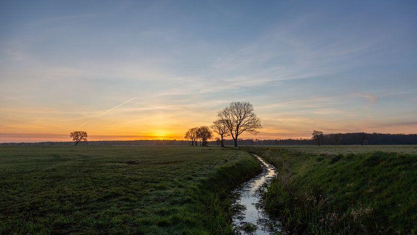 Le paysage de la Drenthe le matin sur Anneke Hooijer