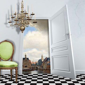 Gezicht op Delft van Marja van den Hurk