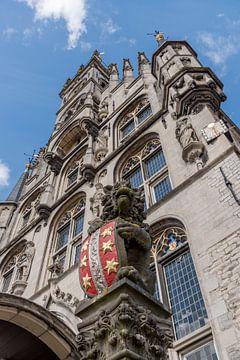 Uitzicht op het wapen van Gouda op het oude Stadhuis van Gouda van Gouda op zijn mooist
