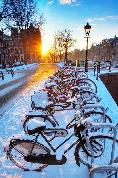 Amsterdam winter fietsen van Dennis van de Water