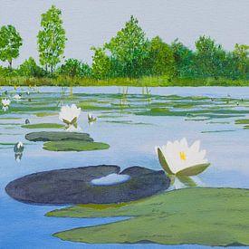 Kortenhoefse plassen, acryl schilderij van Marlies Huijzer van Martin Stevens