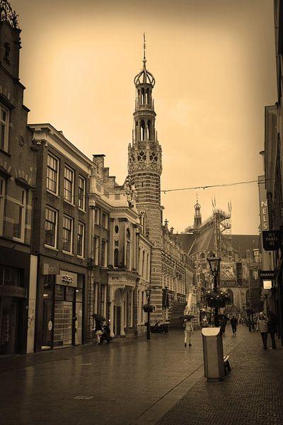 Alkmaar Noord-Holland Binnenstad Sepia Nederland van Hendrik-Jan Kornelis