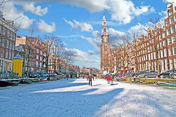 Schaatsen op de Prinsegracht in Amsterdam Nederland van