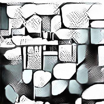 Abstrakte Inspiration LXXXVI abstrakte digitale Gouache Malerei in schwarz grau von Maurice Dawson