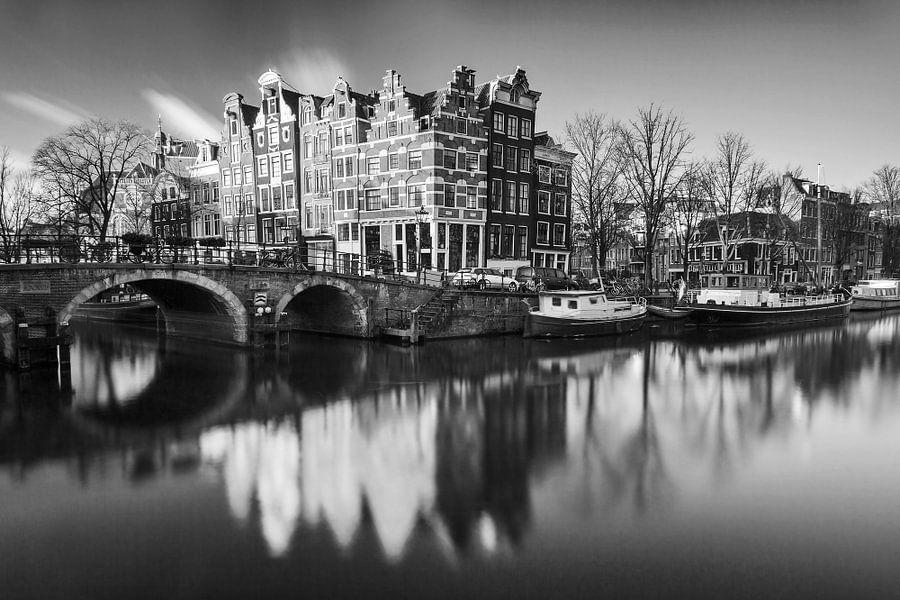 Amsterdam Brouwersgracht in zwartwit