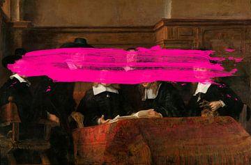 De Staalmeesters van Rembrandt van Rijn met een subtiel roze verfvlekje erin van Maarten Knops