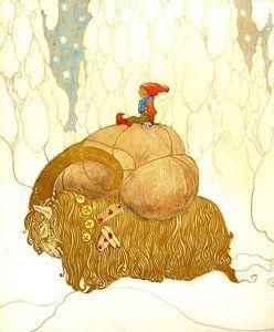 Zwerg auf einem gepackten Winterbock im Schnee