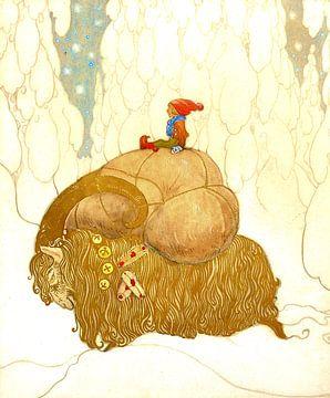 Zwerg auf einem gepackten Winterbock im Schnee von Zeger Knops