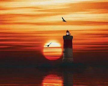 De vuurtoren van Pierre Noires met een zonsondergang en gele Stratus wolken