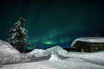 Noorderlicht (Aurora Borealis) - Kiilopaa Fell Centre Lapland van Martin Boshuisen - More ART In Nature Photography