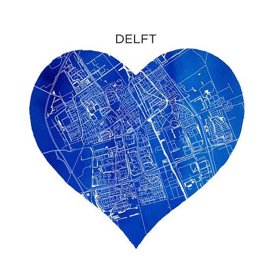 Delft in Delftsblauw   Stadskaart als Wandcirkel
