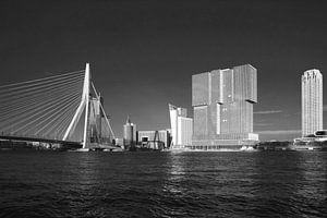 Rotterdam Skyline in zwart-wit