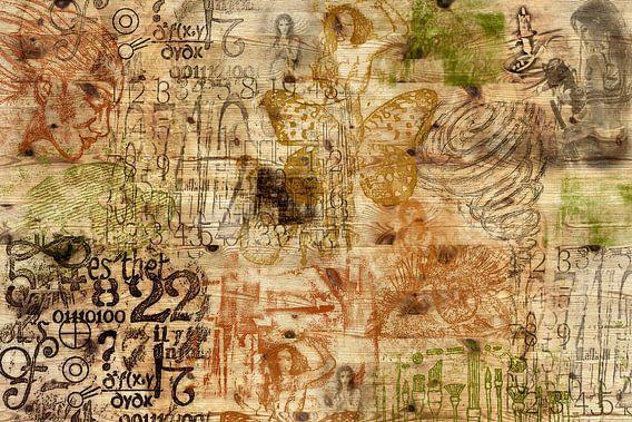 Muze, collage op hout van Rietje Bulthuis