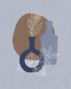 Stilleven illustratie van twee blauwe flessen van Tanja Udelhofen
