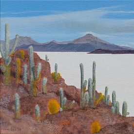 Uyuni zoutvlakte in Bolivia, acryl schilderij van Marlies Huijzer van Martin Stevens