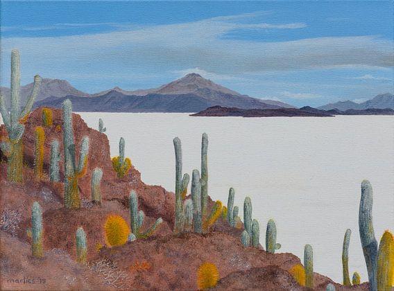 Uyuni zoutvlakte in Bolivia, acryl schilderij van Marlies Huijzer