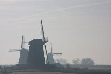 molens in de mist bij Schermerhorn van Contrast inBeeld