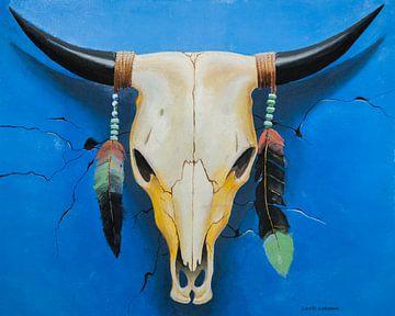 Bull Skull met veren schilderij van David Soekana