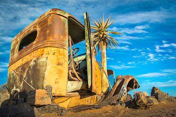 In de woestijn achtergelaten auto van Rietje Bulthuis