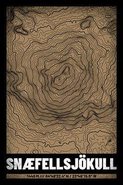 Snaefellsjökull | Kaart Topografie (Grunge) van ViaMapia