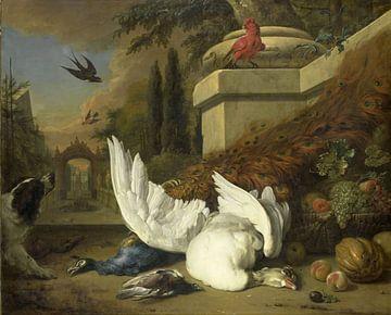 Ein Hund mit einer toten Gans und einem Pfau, Jan Weenix
