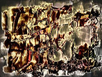 Abstract in geel rode tinten