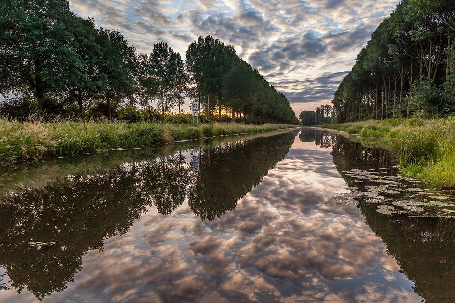 Bomenrij in Beesd met reflectie van de wolken in het water van Marinus de Keijzer