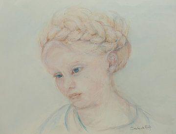 Mädchen mit geflochtenen Haaren. von Ineke de Rijk