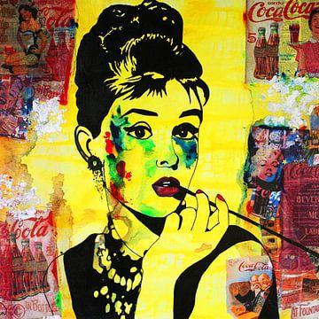 Audrey Hepburn Coca Cola von Kathleen Artist Fine Art