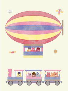Knuffeldieren in treintje en zeppelin pastel