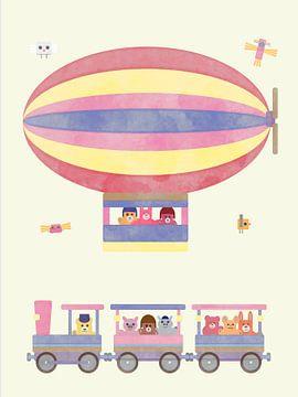Knuffeldieren in treintje en zeppelin pastel van Joost Hogervorst